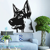 German Shepherd Head Vinyl Decals Wall Sticker Art Design Living Room Modern Bedroom Nice Picture Home Decor Hall  Interior ki829