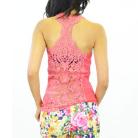 Isa Crochet Lace Back Tank Top Coral