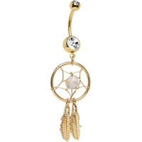 Gold Plated Crystalline Gem Dreamcatcher Belly Ring | Body Candy Body Jewelry