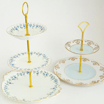 Tiered Cake Stand, Vintage China 3 tier Cake stand, 2 tiered, Cupcake stand, Cake plates, Centrepiece, wedding table