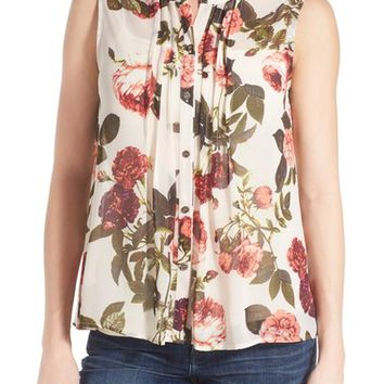 CeCe by Cynthia Steffe Print Sleeveless Pintuck Blouse | Nordstrom