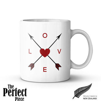Love Arrow Art Ceramic Mug, Quote Mug, Motivational Mug, Unique Coffee Mug, Gift Coffee, Gift Idea for Her