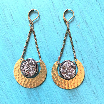 Eclipse Druzy Earrings Hammered Brass Crescent Moon Faux Hematite Geode Stone Dangle Jewelry