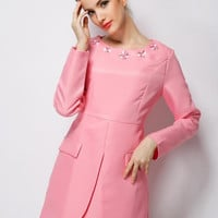 Long Sleeve Wrap Mini A-Line Dress