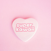 Super Kawaii •  2 Inch Heart Shaped Pinback Button
