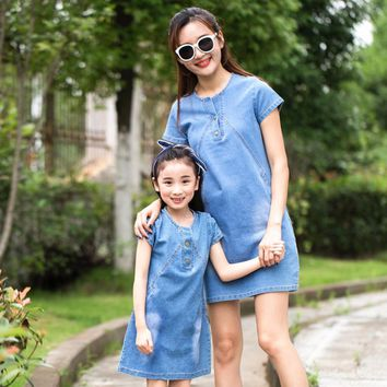 Mother Daughter Dresses 2017 Summer cowboy Family Clothing Mom and Daughter Dress Family Matching Outfits Mommy and me clothes