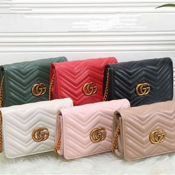 """Gucci"" Fashion Solid Color GG Letter Quilted Single Shoulder Messenger Bag Women Chain Flip Small Square Bag"
