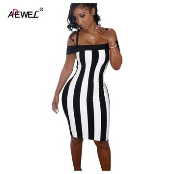 ADEWEL 2018 Black White Vertical Striped Sexy Summer Spaghetti Strap Bodycon Dress