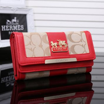 """Coach"" Women Fashion Multicolor Long Section Canvas Multifunction Purse Button Three Fold Wallet Handbag"