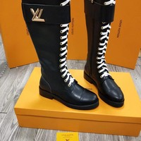 LV Louis Vuitton Women Leather Heels Shoes Boots 2019 knight boot Winter black