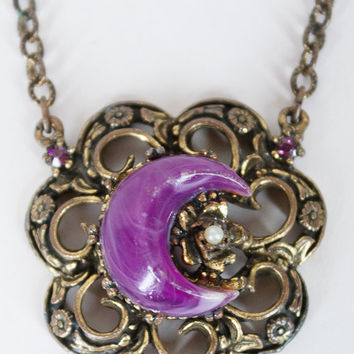 Vintage 60s Necklace / 1960s Brass Pendant Necklace with Purple Crescent Moon Cabochon