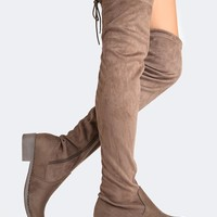 Low Heel Thigh High Boot