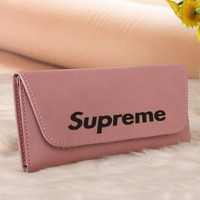 LMFONV Supreme Trending Leather Print Button Purse Wallet For Women pink