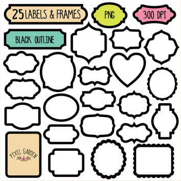 Black Digital Frames Clip Art Set. Digital Tags, Labels, Borders in Black Outline. Scrapbooking Blank Frames Set.
