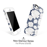 iPhone 5/5s/SE case floral, Akna New Glamour Series Flexible Soft TPU cover with Fabulous Glossy Pattern for iPhone 5/5s/SE [Retro Lotus](207-U.S)