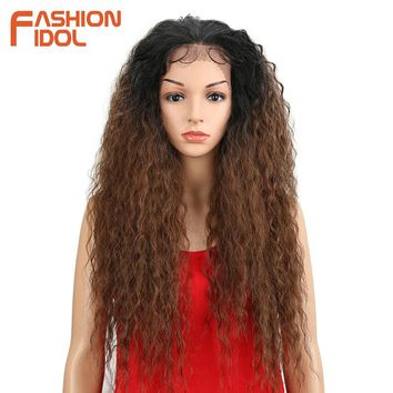 FASHION IDOL Wigs For Black Women Natural Loose Wave Hair 30 Inch Brown Heat Resistant Long Synthetic Wigs Large Lace Front Wig