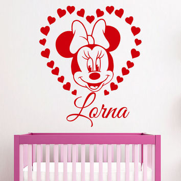 Custom Personalized Name for Girl Wall Decals Minnie Mouse Nursery Vinyl SM80