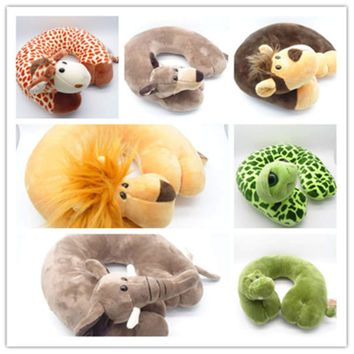 New Fashion U Shape Car Neck Pillows Cartoon Animal Cushion Travel Pillow Neck Support for Airplane Car Office Home Neck Pillow