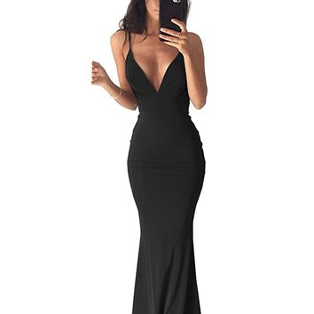 Women's Sexy Deep V Neck Jersey Fitted Formal Prom Gown Open Back