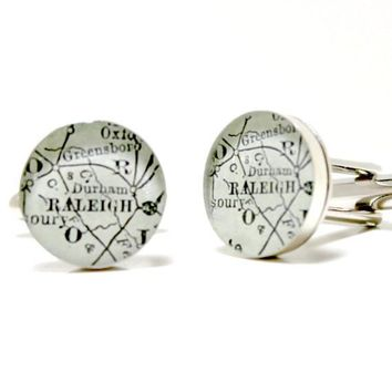 Raleigh North Carolina Antique Map Cufflinks