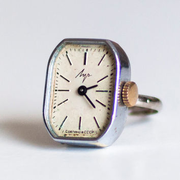 "Ring watch finger ring Soviet Russian watch - silver color ring watch - Women watch Mechanical watch ""- Vintage watch on new ring"