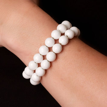 Vintage Monet White Bead Two Strand Bracelet