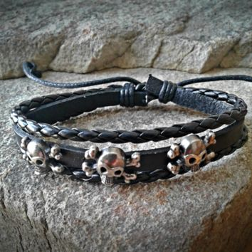 Triple Skull Black Leather Adjustable Unisex Leather Weave Wrap Bracelets