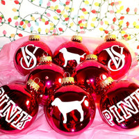 Rhinestone Victoria Secret VS Pink 8PC Glass Ornament Set
