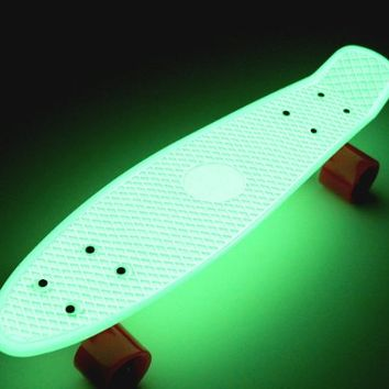 Fish Penny Shipping Skateboard Glow in the Dark Retro Cruiser Silver/Pink Wheels