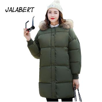 2017 new winter women long large size fat bread clothing thick parkas warm coat female big fur collar solid pocket cotton jacket