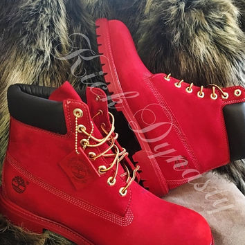 15% OFF SALE All Red Custom Dyed Timberland Boots Suede