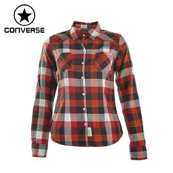 original converse women s long sleeve shirts sportswear plaid red or purple