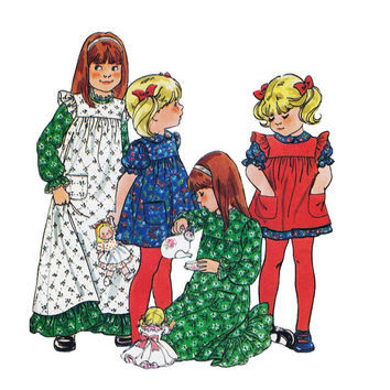 "1970's Butterick 5171 Girl's Dress and Pinafore Size 6X || Bust 25 1/2""/ 65cm 