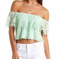 Off-the-Shoulder Lace Crop Top by Charlotte Russe