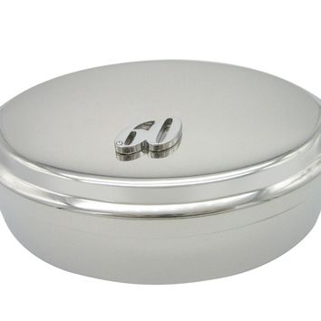 Silver Toned 60 Years Pendant Oval Trinket Jewelry Box
