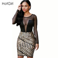 Women Sequined Sexy Dress Black Mesh Patchwork Party Bodycon Stretch Sheer Lace Club Dresses Vestidos