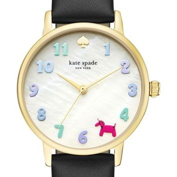 kate spade new york metro balloon leather strap watch, 34mm | Nordstrom