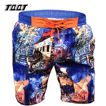 Shorts Men Board short Castle Print Shorts Mesh Inside Short Elastic board shorts Pockets Shorts Men