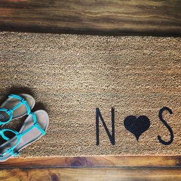 """Welcome Mat / Doormat Personalized with Capital Initials and Heart - 18x30"""" natural coir"""
