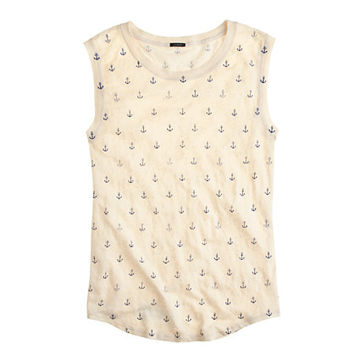 J.Crew Womens Linen Tank In Anchors