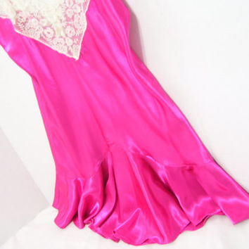 Chemise Satin Baby Doll Night Gown Hot Pink Victoria Secret  Honeymoon Bridal  Sexy and Sassy