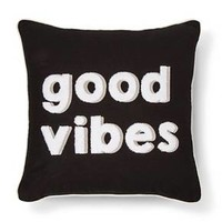 Black Good Vibes Throw Pillow - Room Essentials™