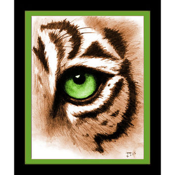 Eye of the Tiger Art Print - Tiger Art Animal Print Decor Tiger Wall Art - Animal Lover Gift Green Wall Art Tiger Decor - Tiger Eye Poster