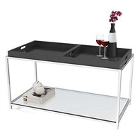 Modern Metal Coffee Table with 2 Removable Trays in Black