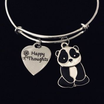 Happy Thoughts Panda Jewelry Expandable Charm Bracelet Silver Adjustable Bangle One Size Fits All Gift