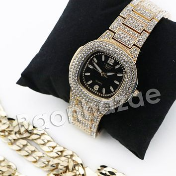 HIP HOP ICED OUT RAONHAZAE GOLD FINISHED LAB DIAMOND WATCH CUBAN CHAIN SET10