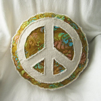 Peace sign pillow, gold brown batik with turquoise, yellow, green, and rose leaf and distressed natural denim round boho pillow