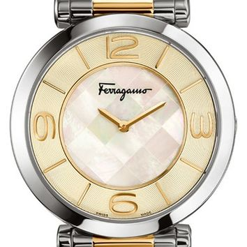 Women's Salvatore Ferragamo 'Gancino Deco' Bracelet Watch, 39mm - Silver/ Gold