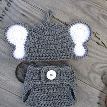 Crochet Baby Elephant Outfit Heather Grey Newborn Photo Prop