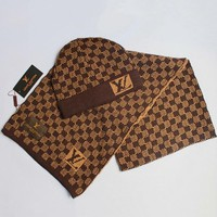Louis Vuitton Women Men Fashion Casual Hat Cap Scarf Set Two-Piece-1